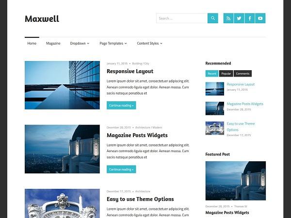 Maxwell Free WordPress blog Theme