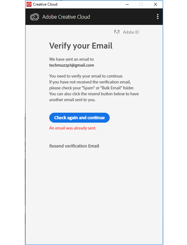 Adobe Creative Cloud Email Verification Popup