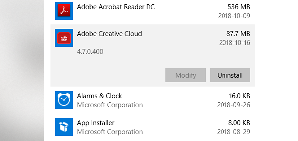 Uninstall Adobe Creative Cloud Application