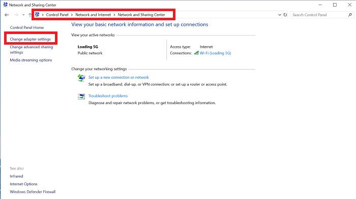 Open Change Adapter Settings in Windows