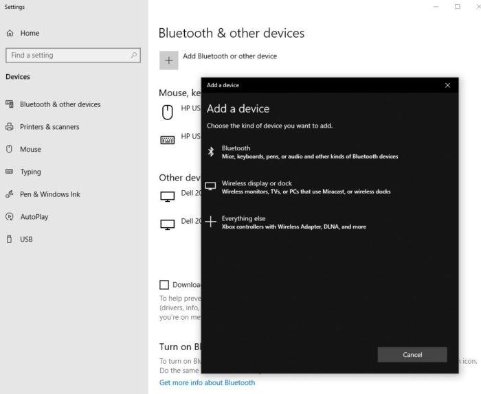Windows 10 Add Device screen