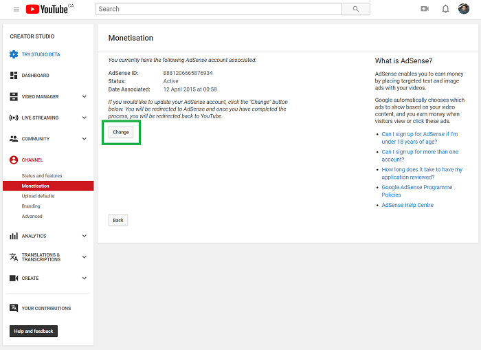 change youtube channel associated adsense account