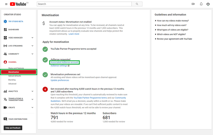 youtube channel monetization tab with adsense account
