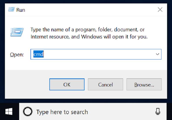 windows 10 run box with start button and task bar