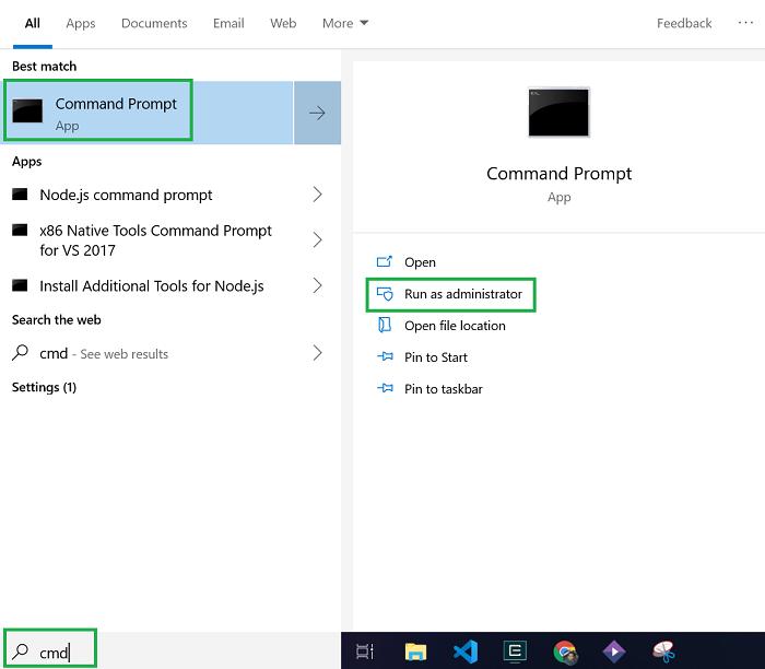 windows 10 start menu with cmd search