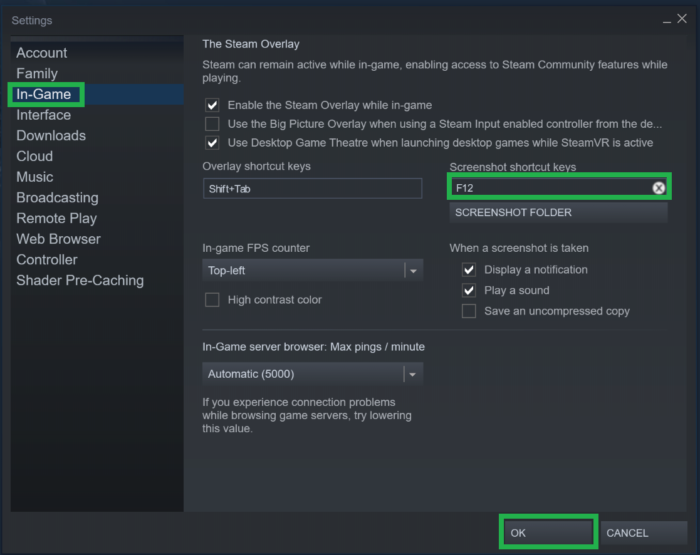 steam in-game screenshot shortcut keys settings screen
