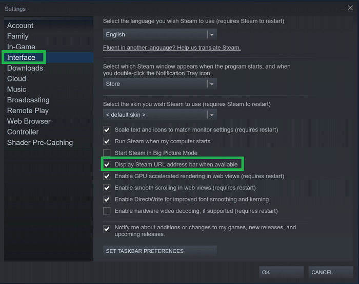 steam interface settings screen